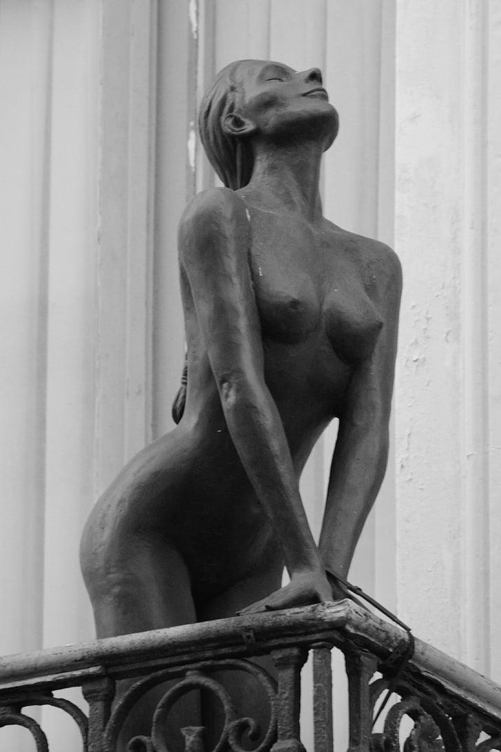 estàtua, llautó, dona, nu, pits, balcó, Art