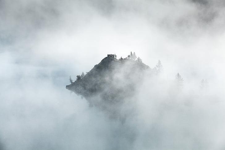 nuvens, nevoeiro, névoa, montanha, pico de montanha, natureza, ao ar livre