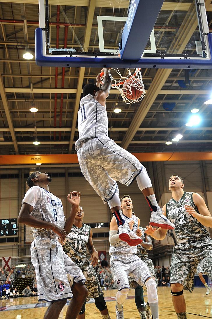 Basketbols, dunk, punktu skaits, grozs, Hops, vīrietis, Sports
