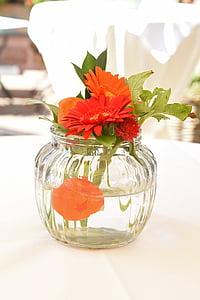 květ, sklo, váza, dekorace na stůl, Zátiší, Deco, oranžová