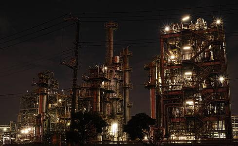 tehase, Öine vaade, tööstus, toru, tööstusliku kompleks, hoone, öö