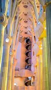 Sagrada familia katedrális, Barcelona, Spanyolország, lépcsőház, építészet, templom, híres