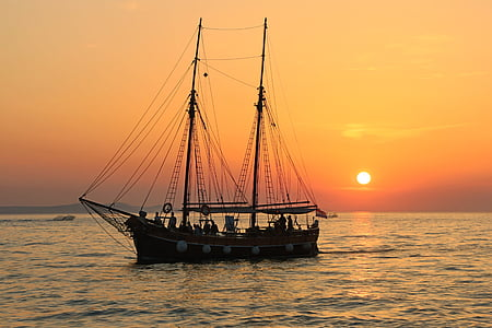 sailing boat, mastes, rigging, boat, sail, sea, ship
