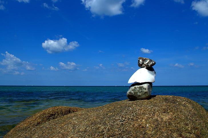 stone tower, sea, stones, beach, meditation, tower, cairn