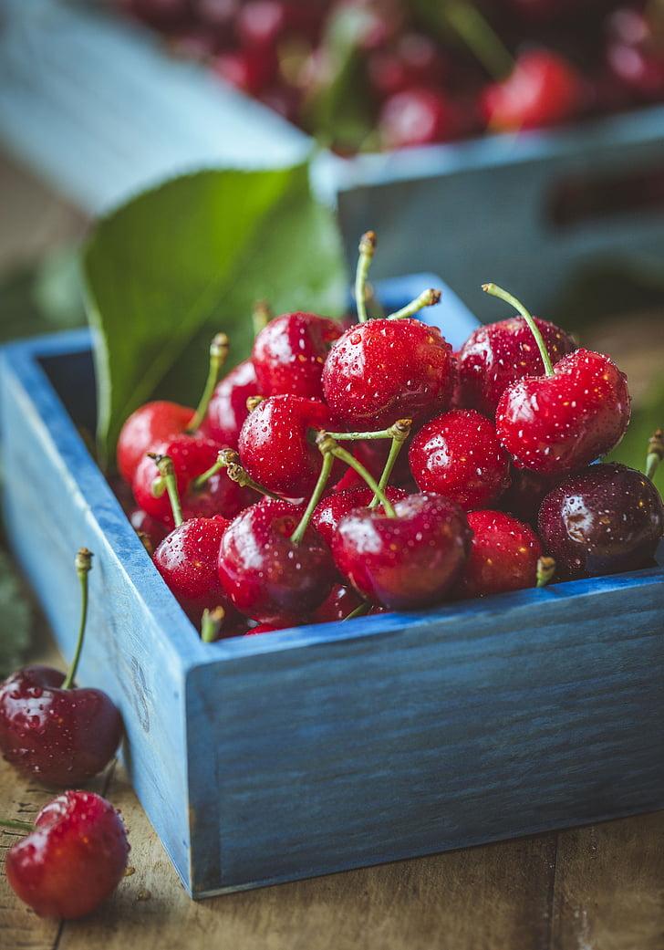 ciliegia, ciliegie, frutta, fotografia di Food, fotografia di still life, fragola, mangiare sano