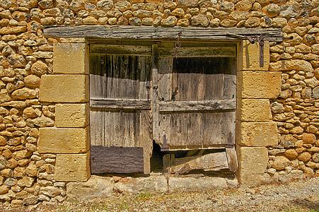 Dordonya, França, graner, finestra, fusta, fusta, arquitectura
