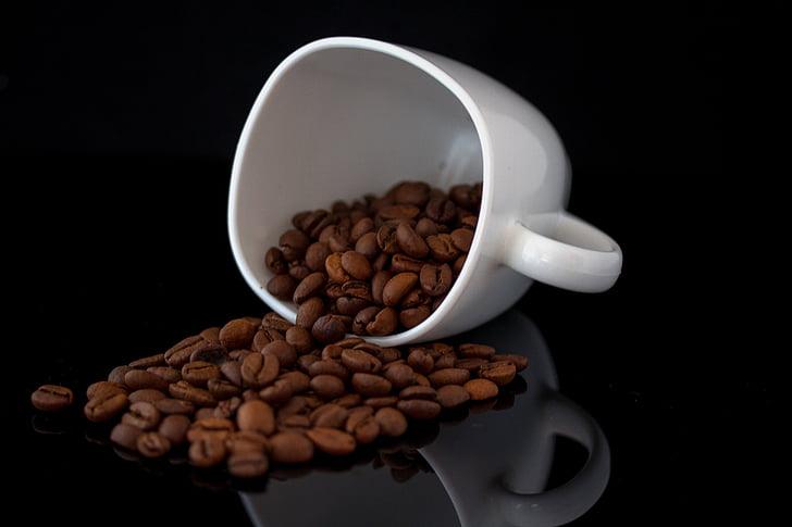 cafè, negre, fosc, Copa, porcellana, grans de cafè, Servei de cafè