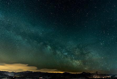 skyer, Sky, Mountain, nat, stjerner, mørk, landskab