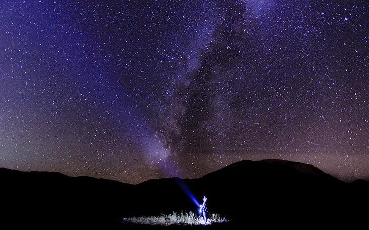 astronomi, kosmos, mørk, leting, galakse, lys, natt