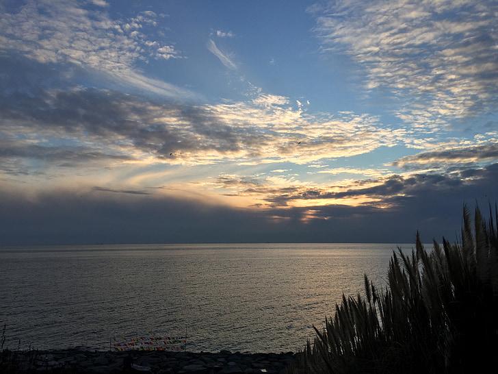 pôr do sol, céu, Lago, nuvens, ao ar livre, mar, natureza