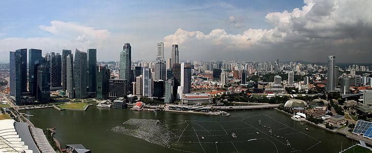 Singapura, Panorama, pencakar langit, Bay, arsitektur, bangunan, modern