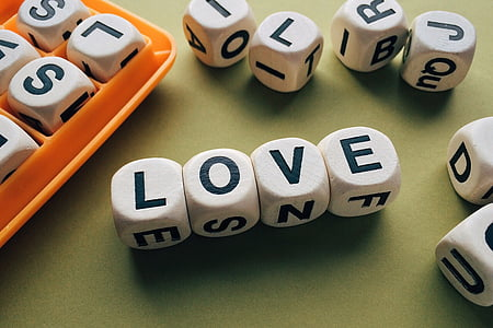 love, word, letters, boggle, game, number, colored background