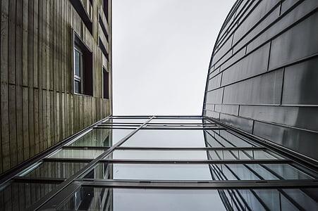 arhitektuur, hoonete, klaas, perspektiivi, terasest, puit, Office
