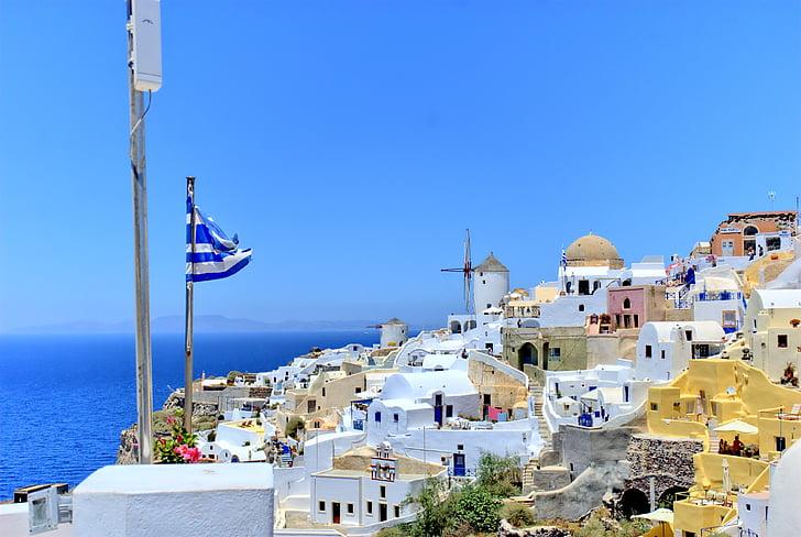 Grècia, Santorini, platja, el sol, vacances, l'estiu, vacances