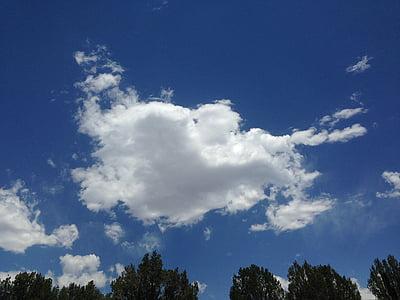ουρανός, μπλε, καρδιά, cloudscape, σύννεφο, υψηλή, αφράτο