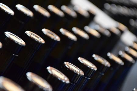 ampolles, vi, celler, fàbrica, suro