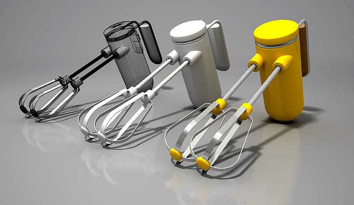 segisti, trummar, köök, riist, 3D, mikser, tehtud
