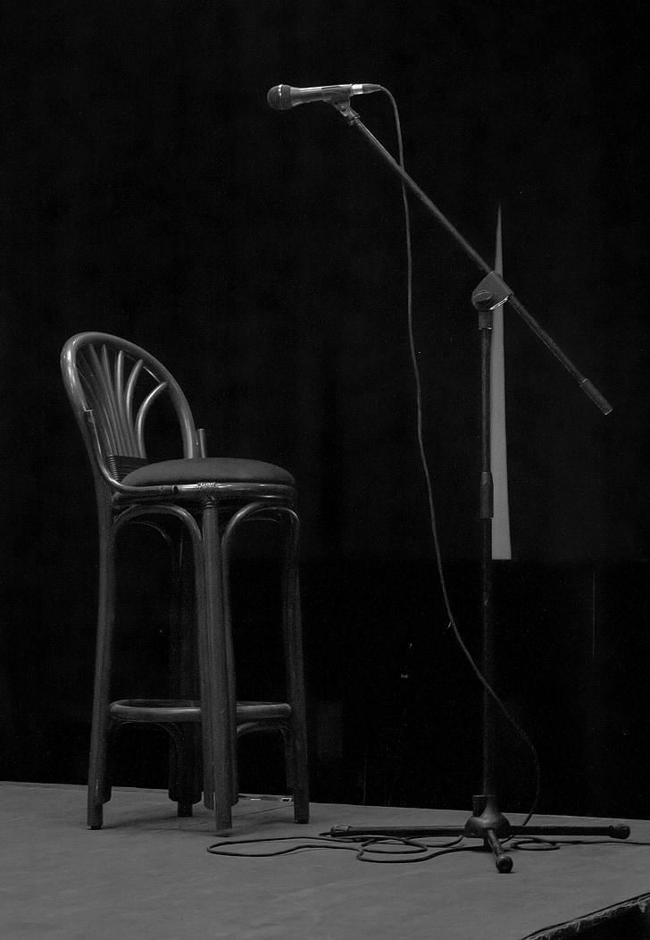 micròfon, etapa, seient, mic, Concert, estand, música