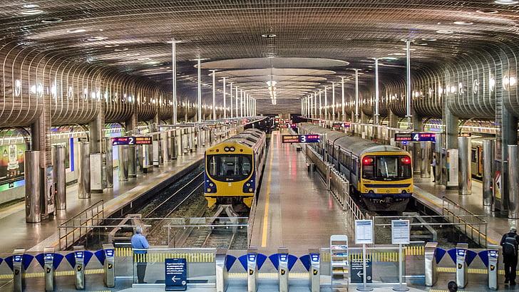 terminal station, trains, train, platform, destination, railway, pathways