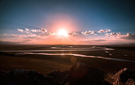 clouds, grassland, prairie, river, sun, sunrise, nature