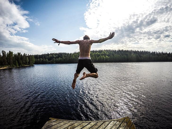 man, diving, body, water, daytime, lake man, human arm