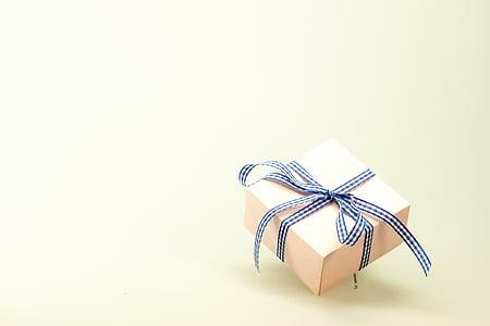 brown, black, gift, box, birthday, christmas, white ribbon