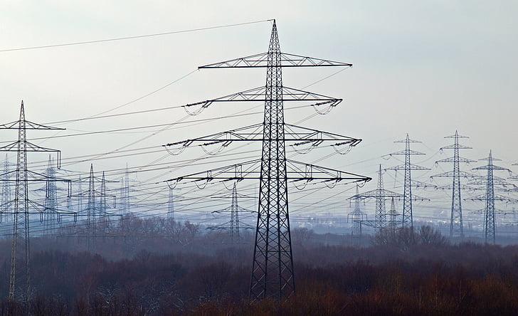 energia, praeguse, võimu poolakad, liini, elektrienergia, kõrgepinge, torn