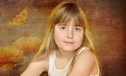 dítě, Děvče, obličej, Blondýna, portrét, umění