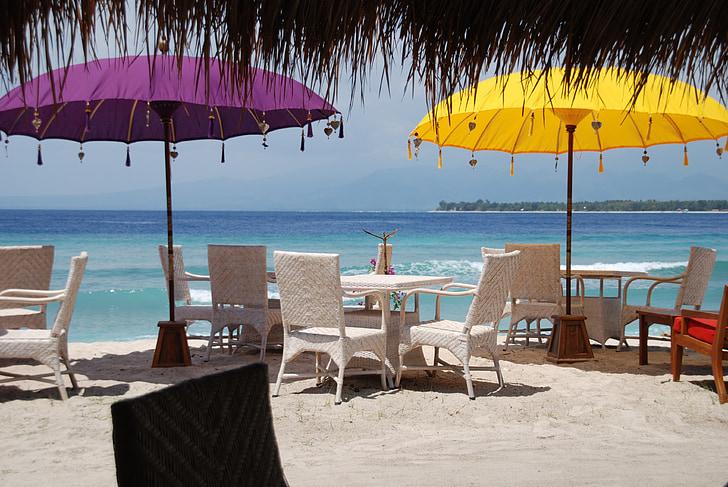 Bali, platja, Parasol, sorra, Mar, l'aigua, cadira