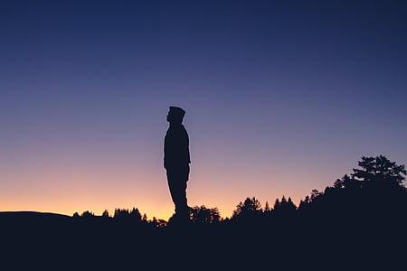 persona, peu, home, natura, posta de sol, silueta, una persona