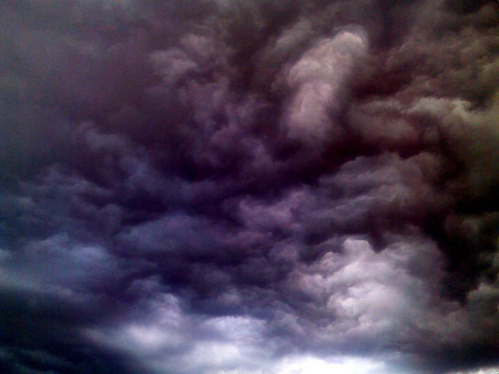 небо, облака, Голубой, Облако, гроза, тучи, темное небо