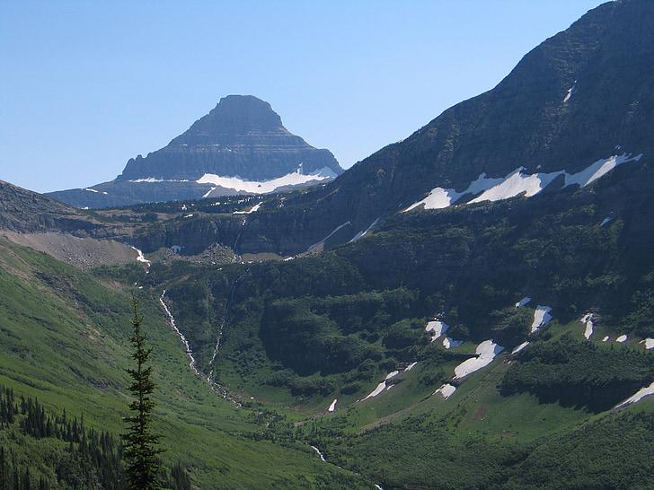 Glacera del parc nacional, muntanyes, glacera, paisatge, paisatge, l'estiu