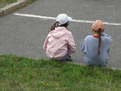 girls, children, sitting, playing, girl