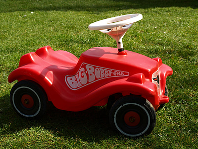 bobby car, children's vehicles, play outside, movement, toys, grass, lawn Mower