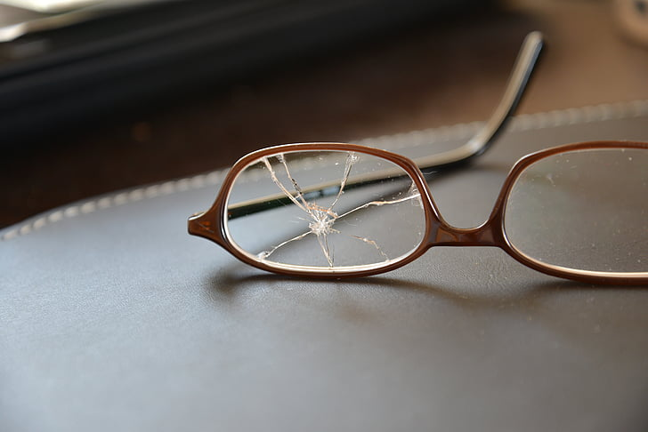 glasses, broken, glass, glass breakage, broken glass, eyeglasses