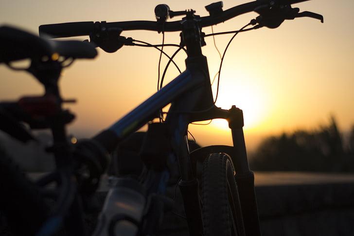 sykkel, solnedgang, kveld, utendørs, soloppgang, sykkel, syklist