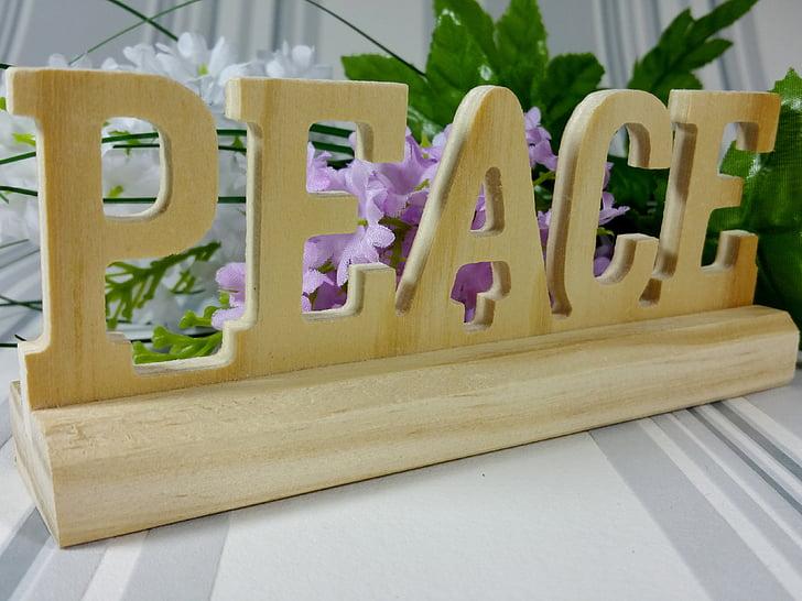 hope, peace, decoration, flowers, wood, background
