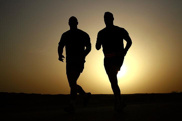 amanhecer, Crepúsculo, exercício, aptidão, movimentando-se, homens, silhueta