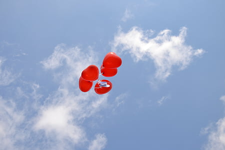 cel blau, globus vermells, blau, cel, cor, globus, celebració