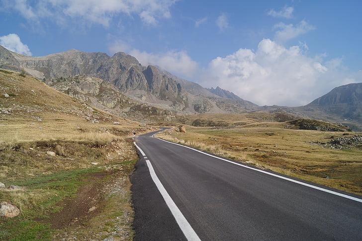 carretera, altiplà, muntanya, herba, paisatge, natura, cel