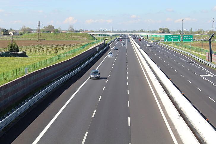 l'autopista, carrils, transport, velocitat, carreteres, asfalt, connexió