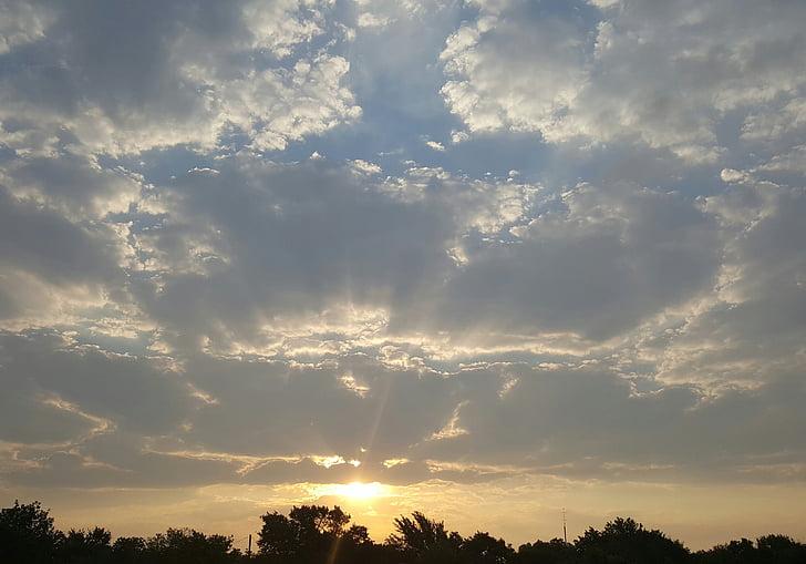 Sunrise, hommikul, Daybreak, pilved, taevas, maastik