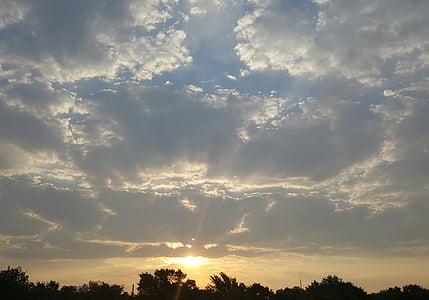 východ slunce, ráno, za úsvitu, mraky, obloha, krajina