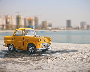 budynki, makro, miniaturowe, Zabawka, Samochodzik