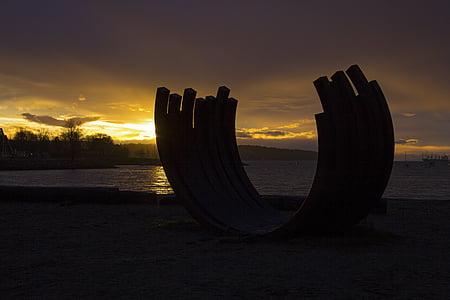 stranden, daggry, skumring, hav, sjøen, Seascape, kysten