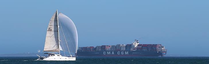 sailing boat, sea, ocean, container ship, sail, nautical Vessel, transportation