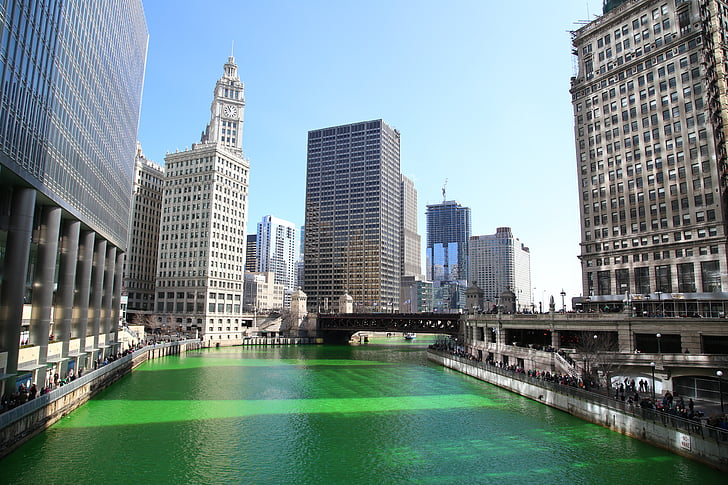 Chicago, Chicago river, St patrick's day, Downtown, City, vand, rejse