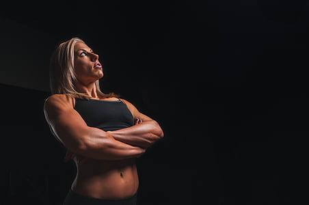обучение, оръжие, блондинка, тренировка, Фитнес, упражнение, спорт