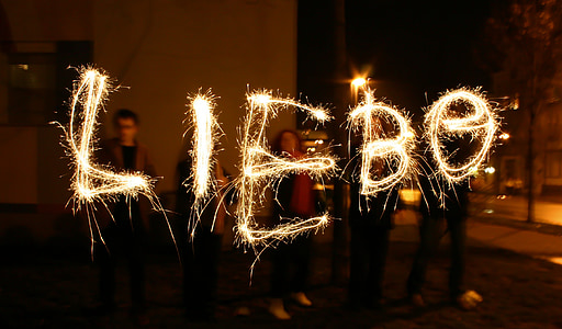 love, at night, evening, mood, sparklers, lights, atmosphere