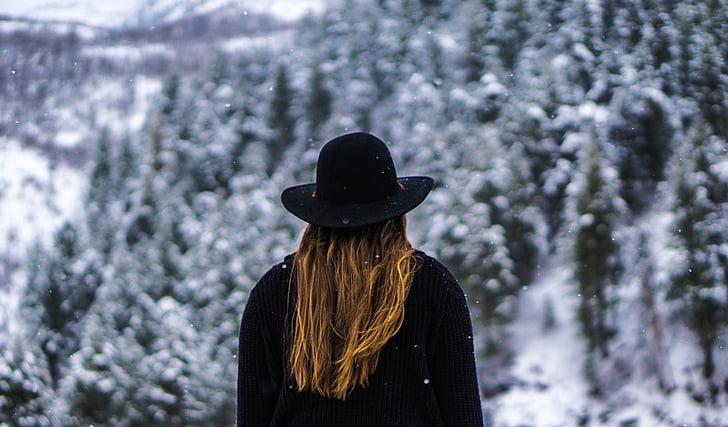 Blond, blonde, lue, Lady, person, snø, Vinter